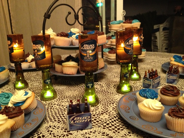 Bud Light Themed Birthday Party Candle Holders Made By
