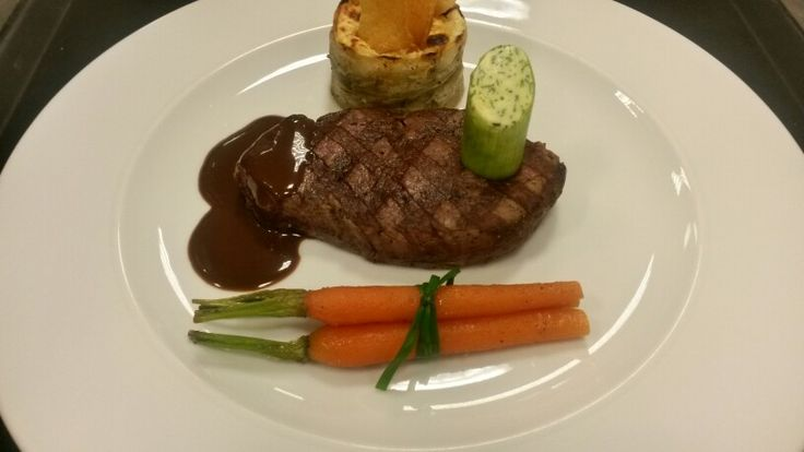 Valentines day beef tenderloin goat chees ratatuoille and chocolate demiglace