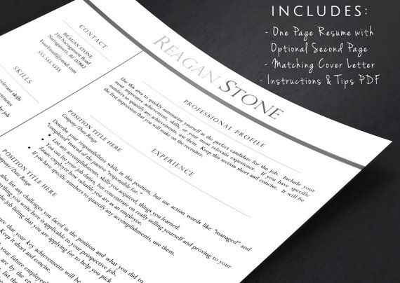 Professional Resume Template for Word & Pages by LandedDesignStudio
