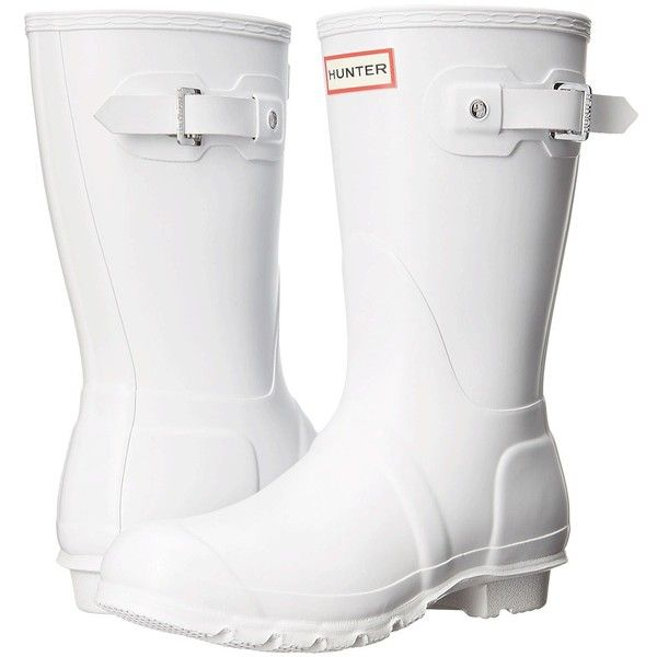 Hunter Original Short (White 1) Women's Rain Boots ($140) ❤ liked on Polyvore featuring shoes, boots, buckle boots, short ankle boots, wellies boots, hunter boots and white platform boots
