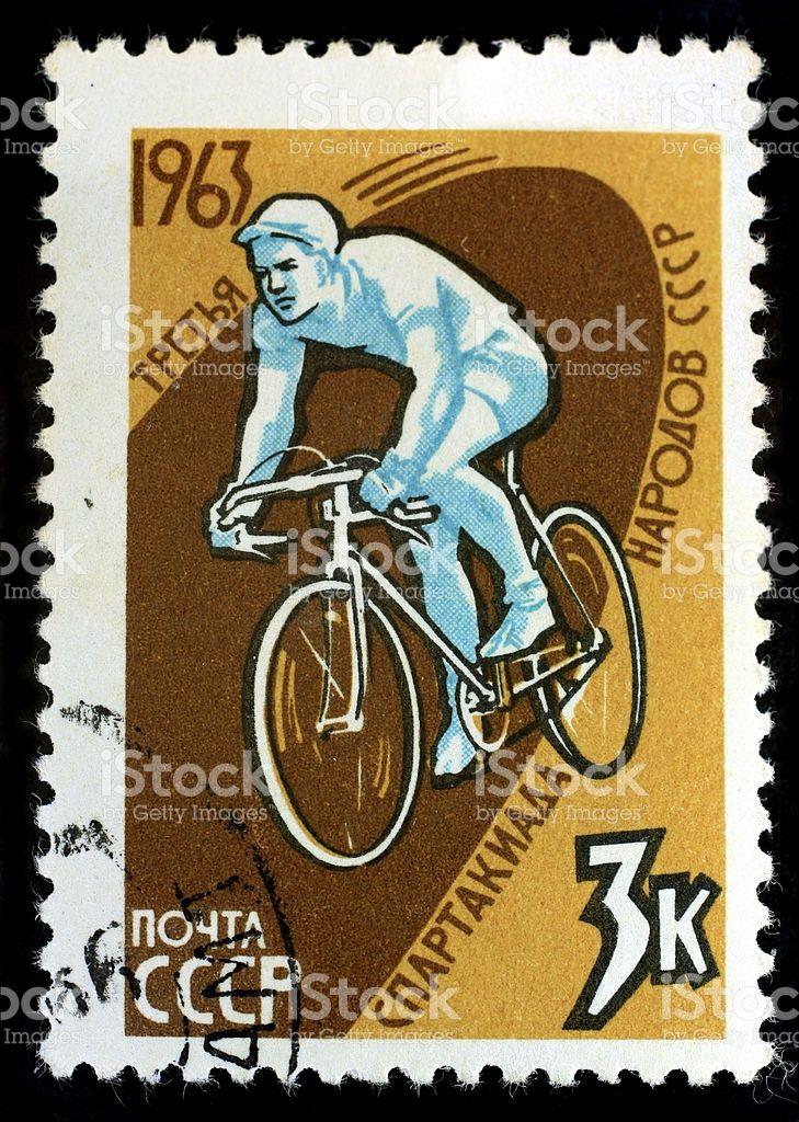 Почтовый штемпель SSSR (CCCP) на велосипеде Стоковые фото Стоковая фотография