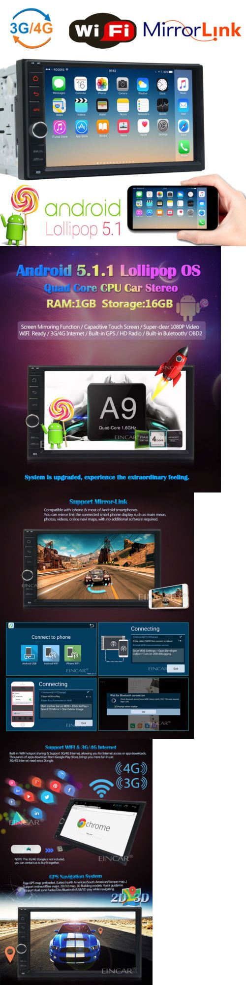 Vehicle Electronics And GPS: Quad-Core Android 5.1 Car Stereo Radio Gps Navigation Dvd Player Wifi 4G Obd Usb BUY IT NOW ONLY: $159.9