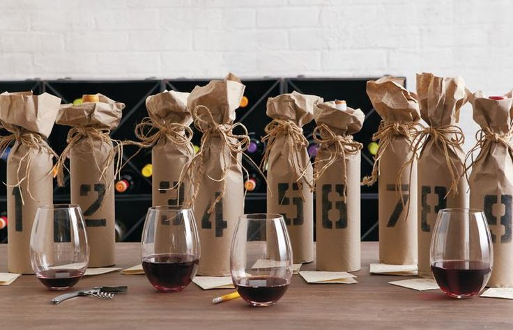 Mystery Wine Party! Guests bring 2 bottles (one wrapped up so you can't see what it is). Partygoers vote of the best grapes and the winner takes home the whole stash of the 2nd bottles!