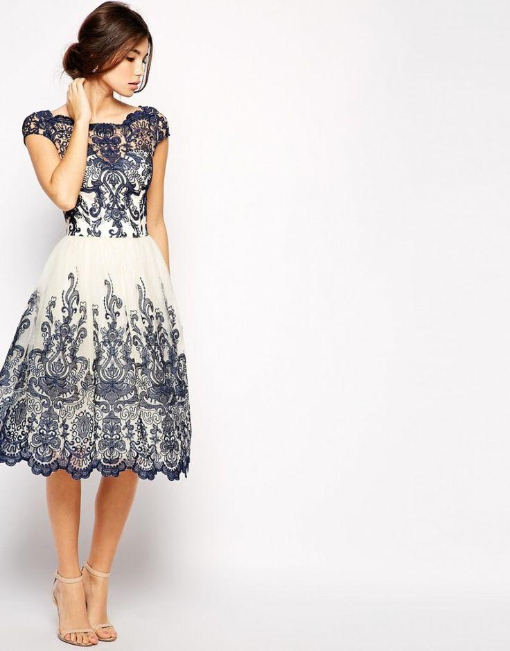 robe invité mariage cérémonie civile esprit rétro avec dentelle bleue