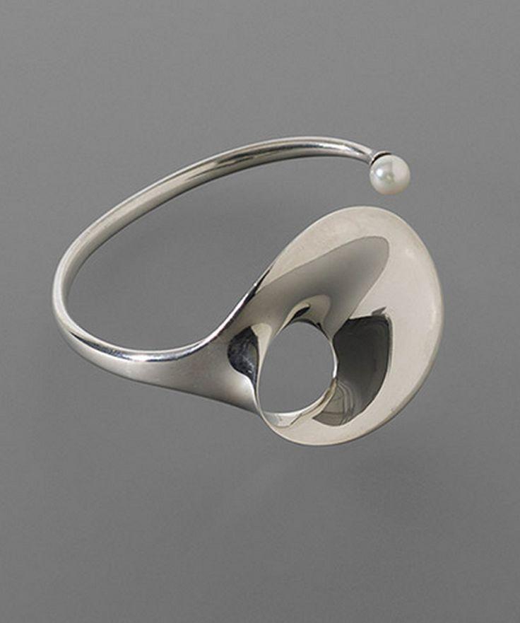 Modern Jewelry // Bracelet   Vivianna Torun Bülow-Hübe for Georg Jensen.  Silver and pearl.  ca. 1968