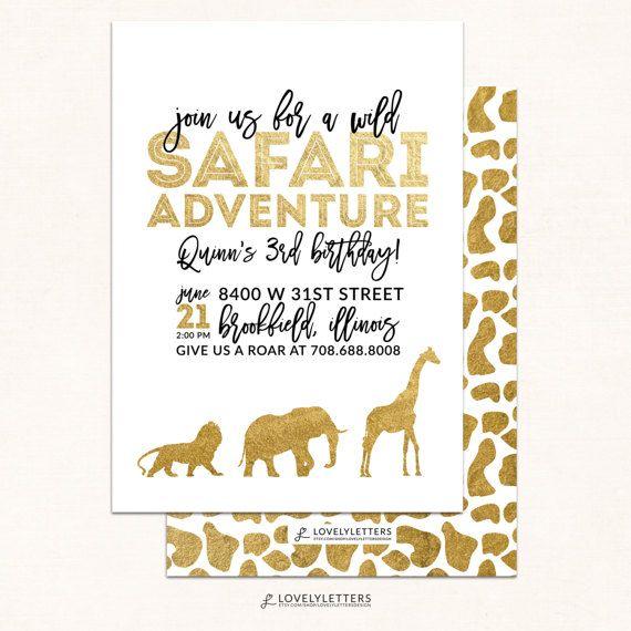 Golden Safari Invitation / Safari Party Invite / Wild Safari