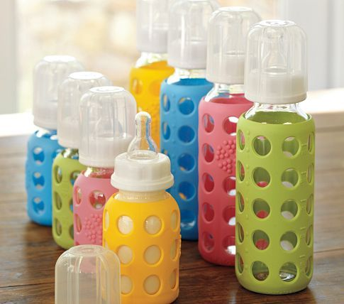 Pottery Barn Kids Lifefactory Bottles  (A colorful fitted sleeve makes these reusable glass bottles shatter resistant and easy to grip for both babies and adults.)