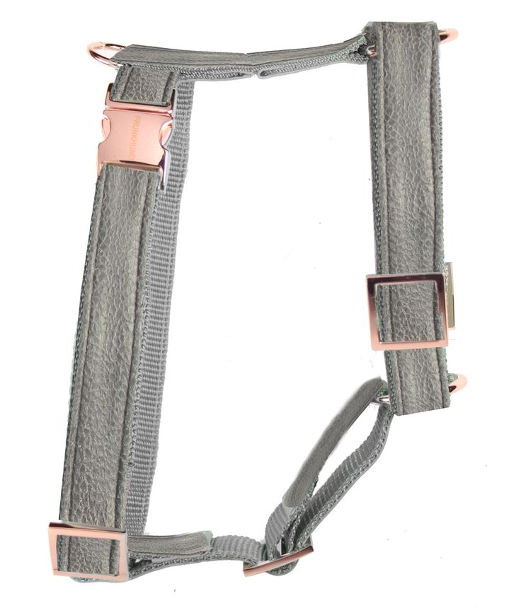 grey dog harness copper white prunkhund