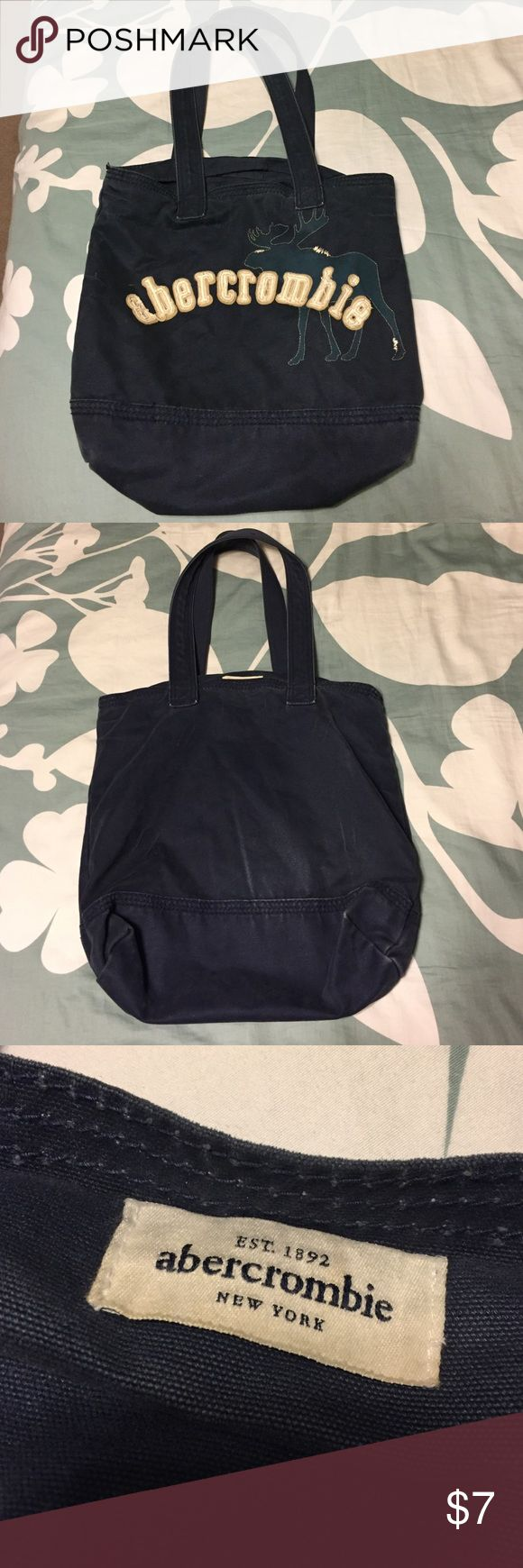 Abercrombie tote bag Navy blue Abercrombie tote bag. In good condition for how often I used it. Abercrombie & Fitch Bags Totes