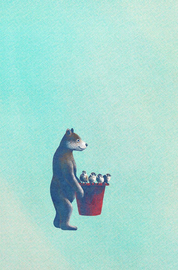 창작자들의 놀이터 : 그라폴리오 #일러스트 #일러스트레이션 #illust #illustration #곰 #bear #sparrow #참새 #pot