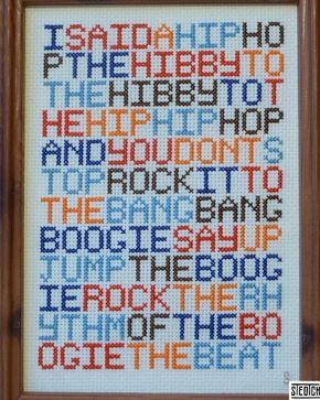 This is awesome. Cross stitch rapper's delight. I could see this as a full sampler if I had about 100 hours I wasn't doing anyhting else with.