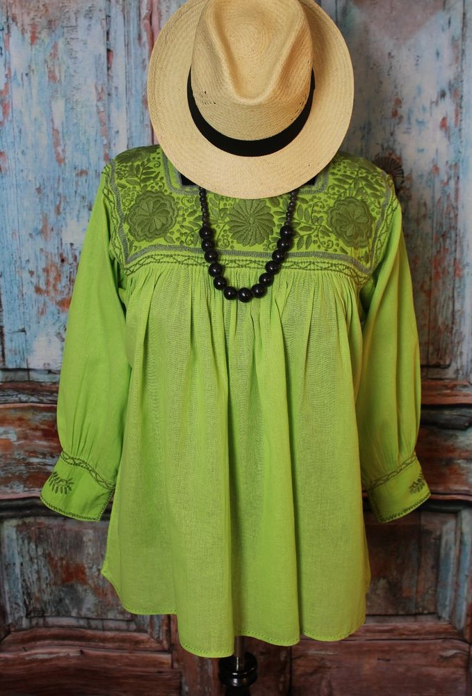 470cbc0c05ffe Mexican Blouse Light Green Hand Embroidered Cotton Chiapas Peasant Hippie  Boho  Handmade  blouse