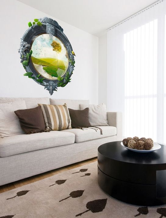 Wall stickers that look like windows - trompe l'oeil in bimago. Add original look to living room with illusion of sunny meadow!