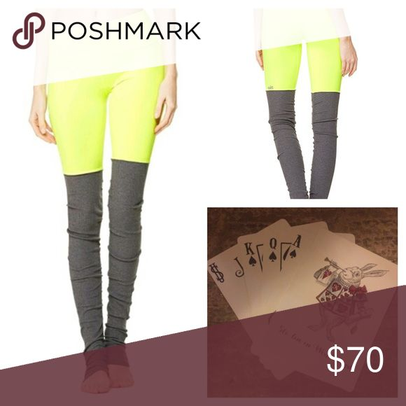 New Alo Yoga Goddess Leggings Neon yellow Pants New with tags Alo Yoga Goddess Yoga pants. Neon yellow with gray legwarmers made onto the pants. These are adorable, flattering, and hard to find! ALO Yoga Pants Track Pants & Joggers