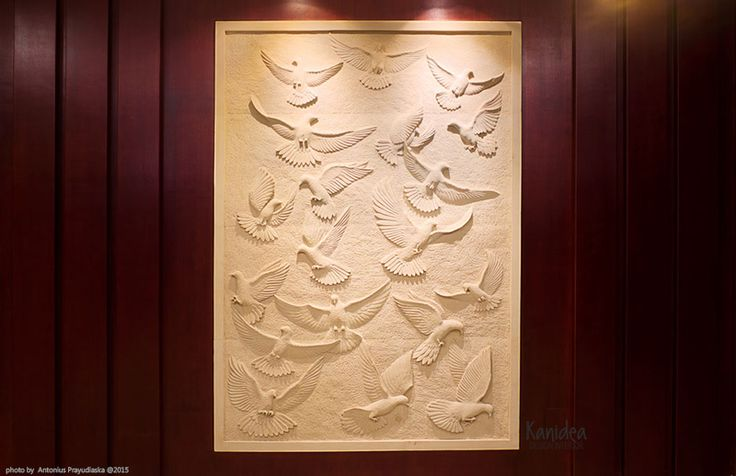 artwork  #naturalstone #carved #pigeon #fly #wood #panel