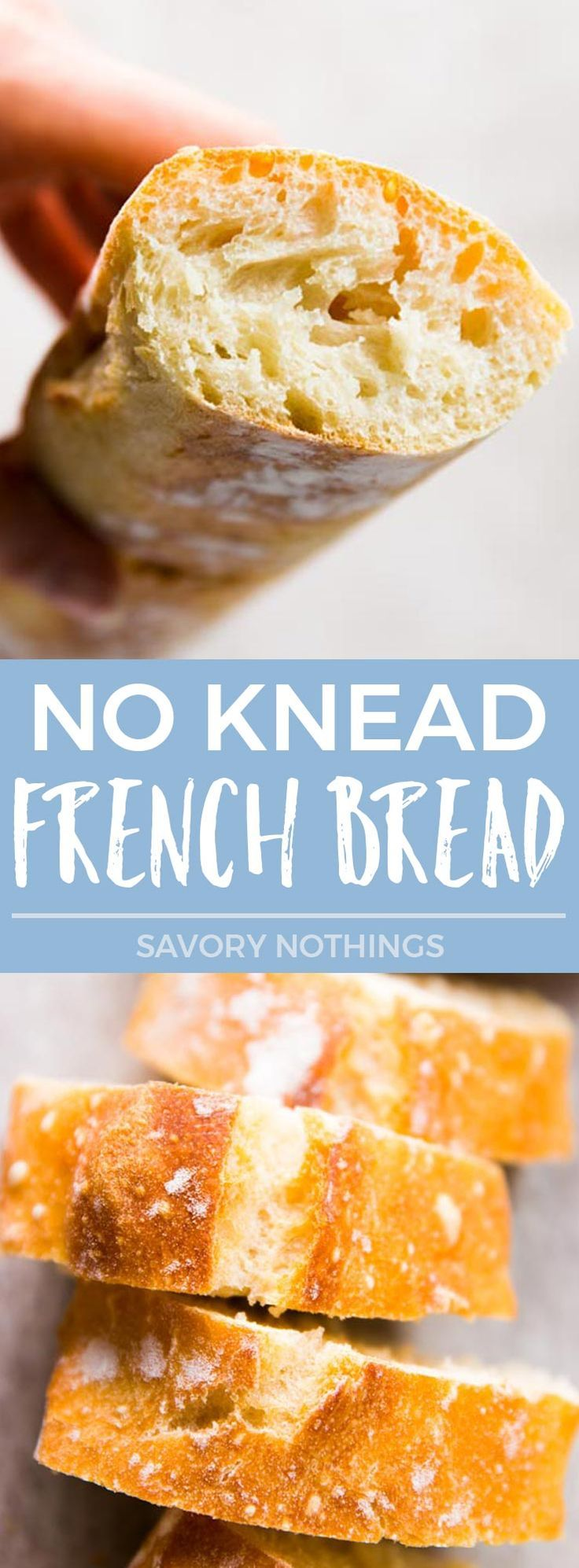 Now you can make crusty, artisan-like HOMEMADE French Bread from scratch with barely any effort! This is one of the best lazy cook's/baker's hack I've ever found - no kneading, no shaping, no overnight rise, and it comes out perfect every time with just 5 MINUTES PREP and about 10 minutes active time in total! | #baking #French #breadmaking #bread #recipes #fromscratch #brunch #mothersday