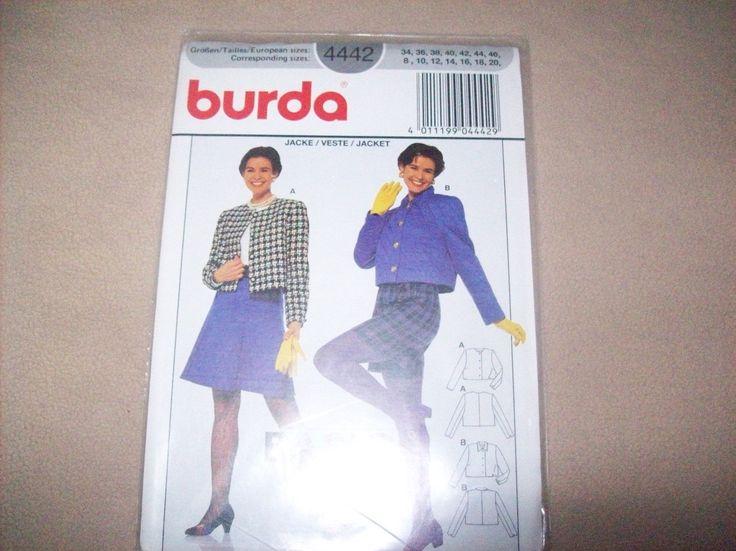 Burda Jacket burda Sewing Pattern 4442, Womans Jacket Pattern, Teens Jacket Pattern by vintagecitypast on Etsy