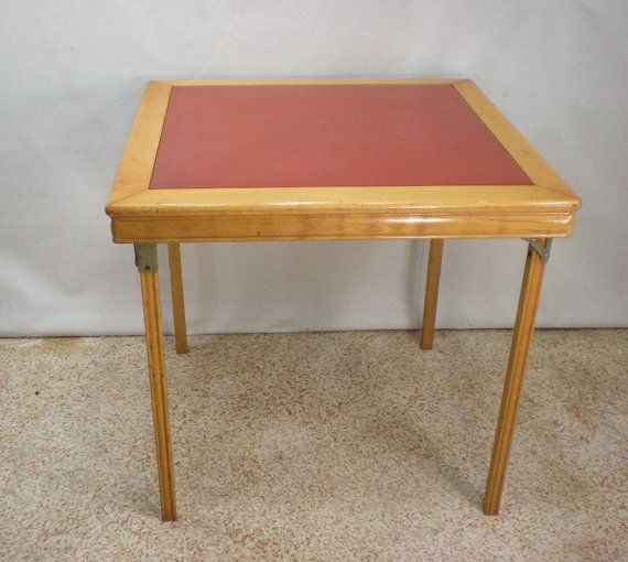 Vintage Leg O Matic Folding Card Table   Coral Red Orange