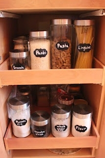 Chalk on jars for items in kitchen