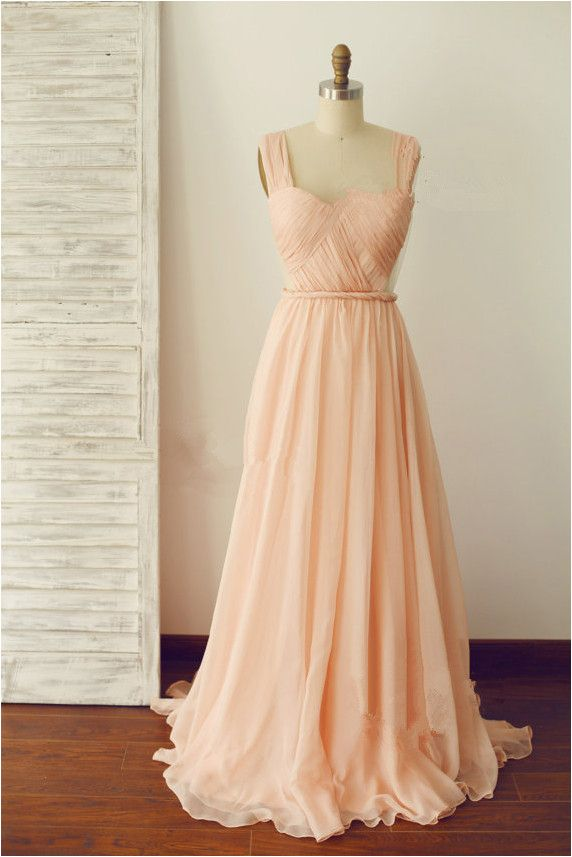 Elegant A-line Floor Length Straps Backless Prom Dress