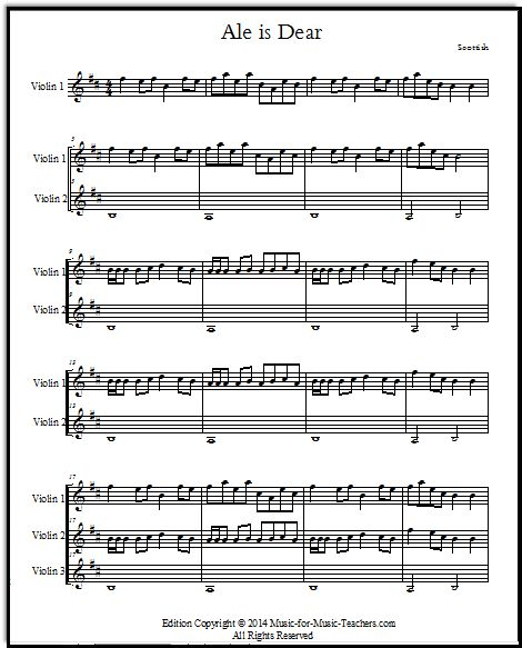 "Fiddle Sheet Music For Beginners ""Ale Is Dear,"" A Scottish"