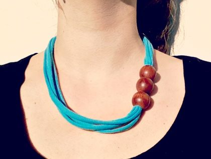 Textile Necklace,  Reclaimed fabric and beads  https://cherryberry.felt.co.nz