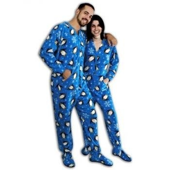 """Pajama City/Dalmation Corporation offer the best PajamaCity Blue Penguins Print Polar Fleece Drop Seat Footed Pajamas for Teens and Adults Size 6 (5'8"""" to 5'9"""")."""