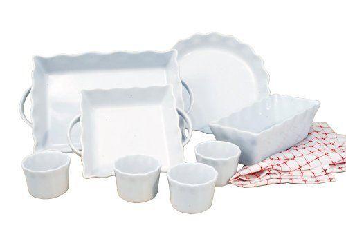 Cook Pro Inc 8 Piece White Ceramic Ruffled Bakeware Set Ceramic