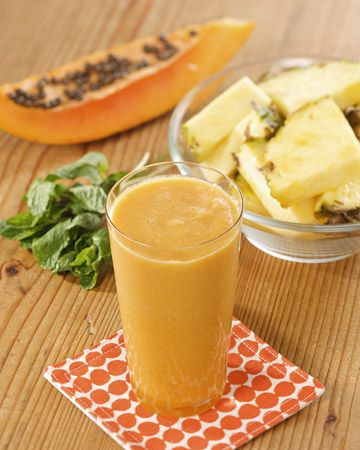 Martha's Pineapple-Papaya Juice    5 sprigs fresh mint  1 pineapple, peeled and cut into pieces  1 medium papaya, peeled and seeded  Directions    Press all ingredients through a juice extractor into a measuring cup. Stir to combine before serving.
