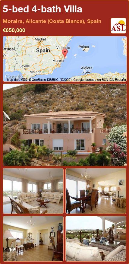 5-bed 4-bath Villa in Moraira, Alicante (Costa Blanca), Spain ►€650,000 #PropertyForSaleInSpain