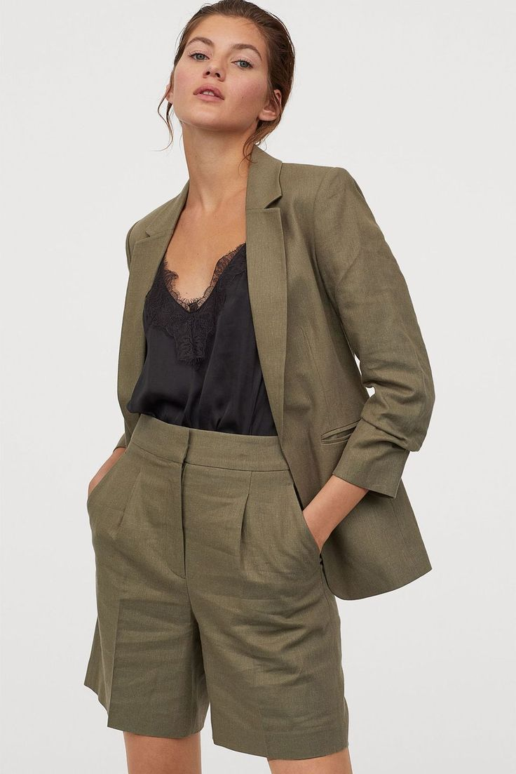 Gently fitted jacket in a soft woven linen and viscose blend. Notched lapels concealed hook-and-eye fastener at front and sleeves with a draped effect at cuffs. Welt front pockets and vent at back. Lined. Green Suit, Khaki Green, Fashion Mode, Fashion Outfits, Short Kaki, Affordable Suits, Suits For Women, Clothes For Women, Short Suit