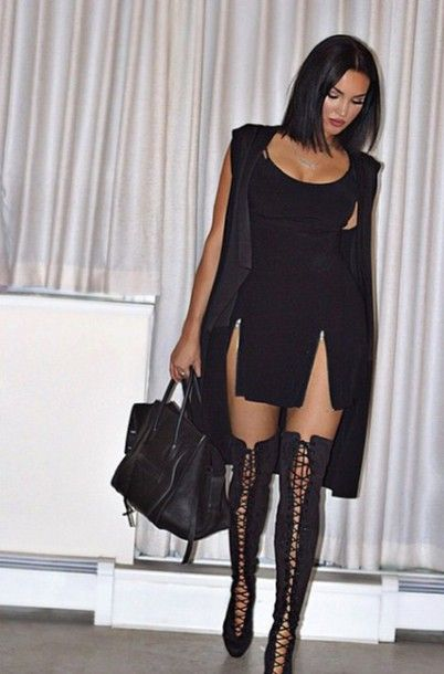 The thigh-high lace up boots are so sexy and perfect for fall when ...