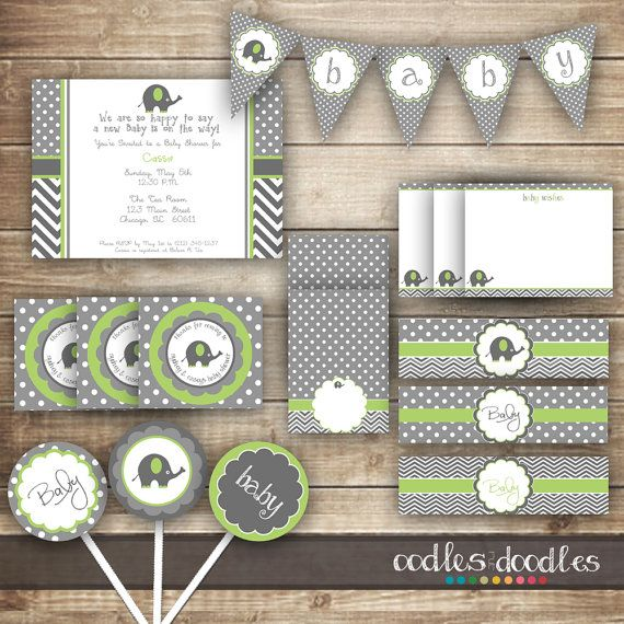 Elephant Baby Shower / Chevron and Polka Dots / Gray and Lime Green PARTY PACKAGE  / Gender Neutral Party Kit - Printable