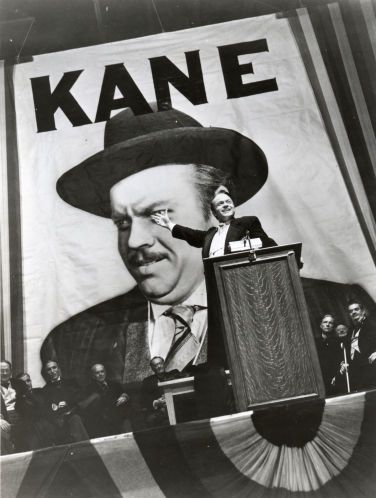 Orson Welles' 1941 film Citizen Kane was a thinly fictionalized account of the life of newspaper mogul William Hearst, at left. Kane's hubris and megalomania have found an echo in 2016.
