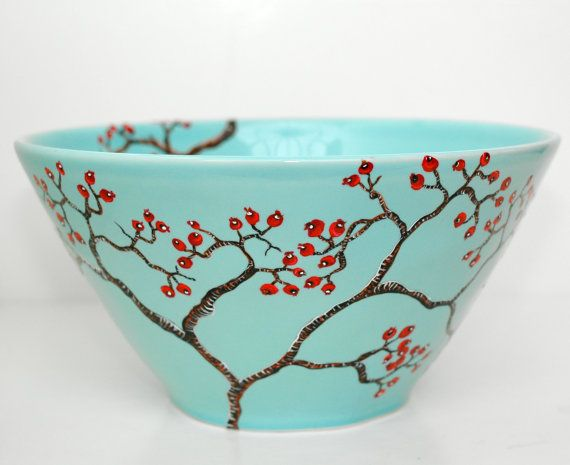 Hand-Painted Large Blue Bowl: Red Berry Winter Tree Branch. $130.00, via Etsy.