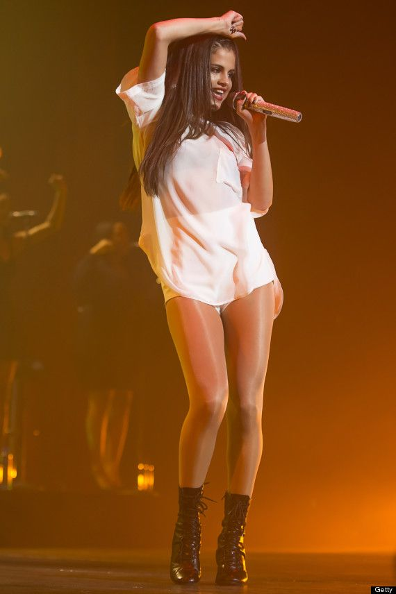 Selena Gomez Wears Leather Short Shorts Onstage In Amsterdam