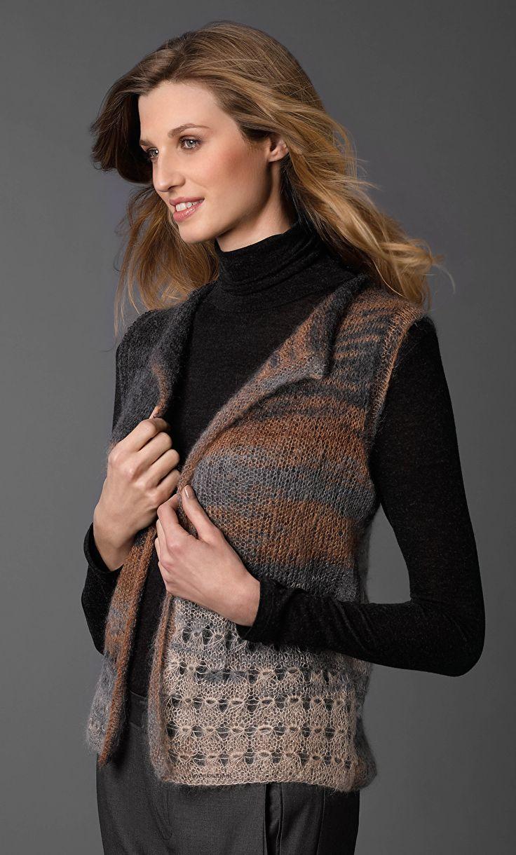 Breien. Dit vest maak je met Katia Concept Silk-Mohair. De samenstelling van 70% mohair en 30% zijde maakt de Silk Mohair een superzachte en luxe draad. Mohair komt van de eerste schering van de angorageit en heeft dus de langste en fijnste haren. Het is bijzonder fijn van structuur en verkrijgbaar in prachtige gemêleerde en neutrale kleuren.  Model en patroon staan beschreven in het patronenboek Katia Concept No. 1 (blz. 26-27)