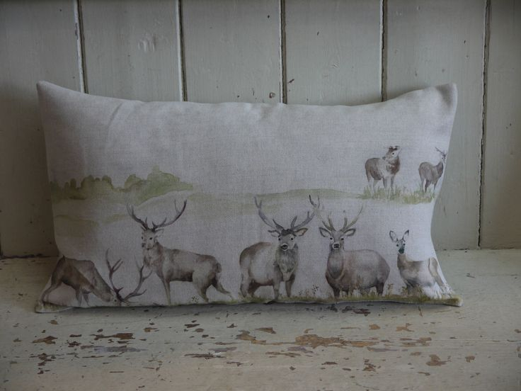 Luxury Cushion - Stag pillow - Feather filled cushion - living room cushions - Deer Cushion - Country Cushion - Woodland Cushion by VintiqueTree on Etsy