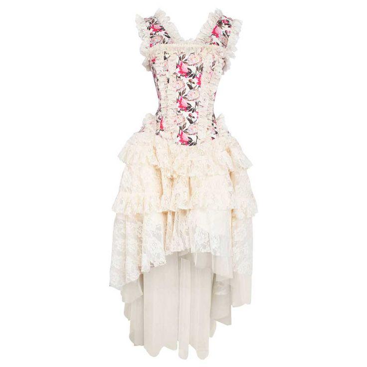VG London Victoriaanse high low taffeta korset jurk met bloemen print