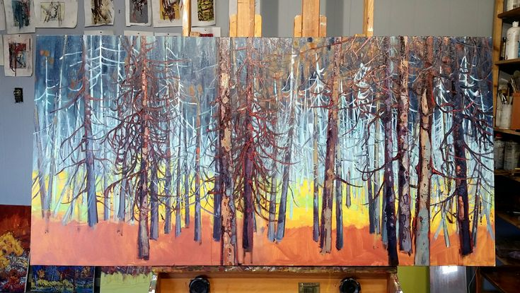 """OK, I am officially """" treed out """"... One of the chalenges of painting such a subject matter is that you want to keep each tree as individual but also paint it as collective. Also applies to penguins....  artworkshops #oilpainting #landscape #color #Yukon #NWT #painting #paintings #paintingoftheday #paintingsforsale #paintingprocess #paintingvideo #paintingstudio #paintingaday #pleinair #pleinairpainting #pleinairpaintings #pleinairartist #pleinairsketch #pleinairlandscapepainting #tvseries…"""