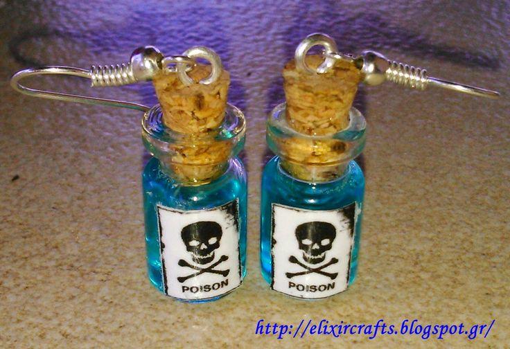 """Elixir Crafts : Miniature """"Poison"""" Bottle Earrings"""