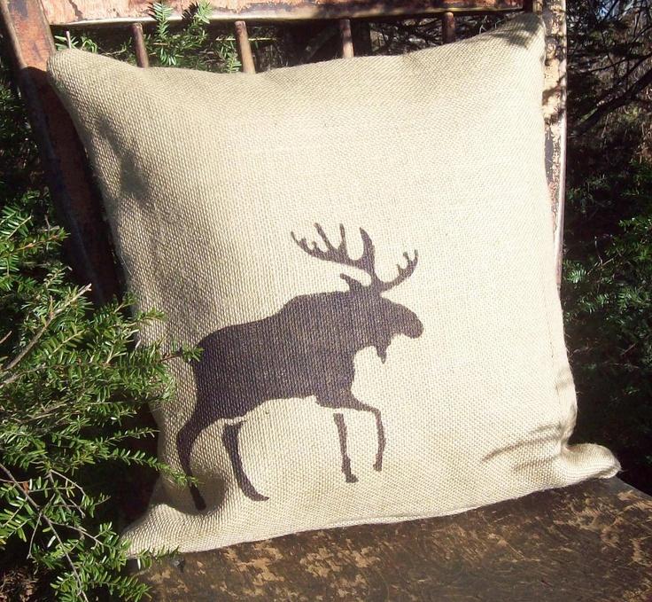 Moose Pillow Cover - Moose Pillow - Burlap Pillow - Cabin Pillow - Lodge Decor - Rustic Moose ...