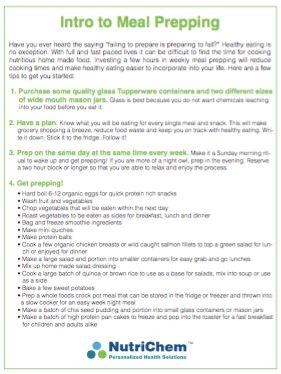 Meal Prep Handout - Tips to make your weekly #mealprep easier. #nutrition #healthy #foodprep #snacks #lifehack