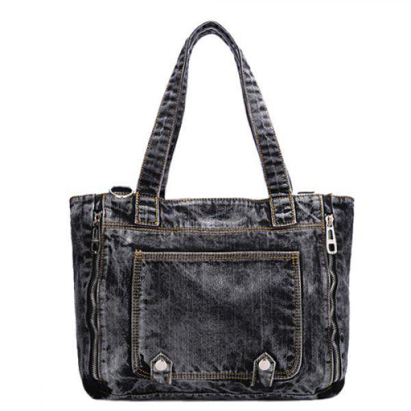 Casual Denim and Zips Design Shoulder Bag For Women
