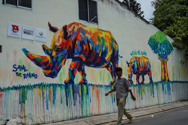"""Home to one of the largest African rhino horn consumer bases in the world, a 17-piece graffiti campaign around Vietnam's Ho Chi Minh City conveys a simple message: """"Save the rhinos.""""."""
