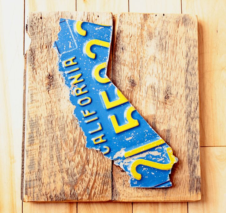 Vintage California State License Plate Art Mounted On Barn Board Upcycled
