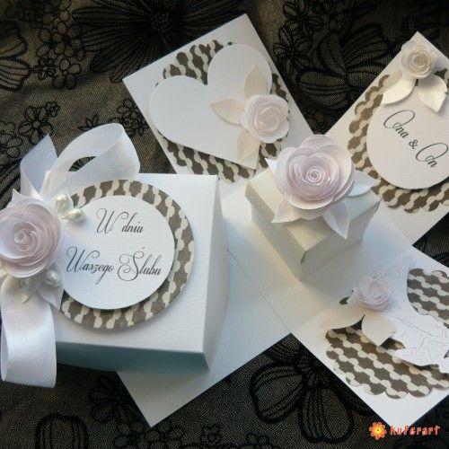 Exploding box, kartka ślubna, ślub - Kartki hand made - Papier