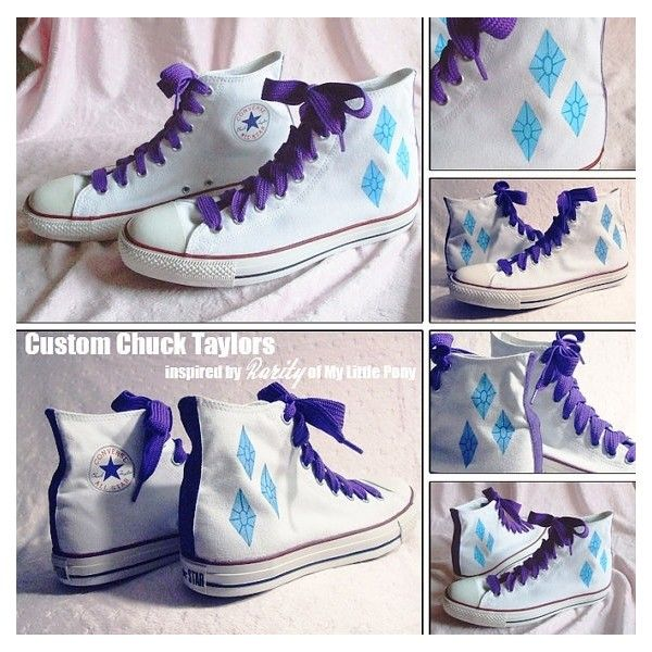 Custom Chuck Taylors Rarity (My Little Pony) found on Polyvore featuring polyvore, fashion, shoes, mlp, my little pony and my little pony shoes