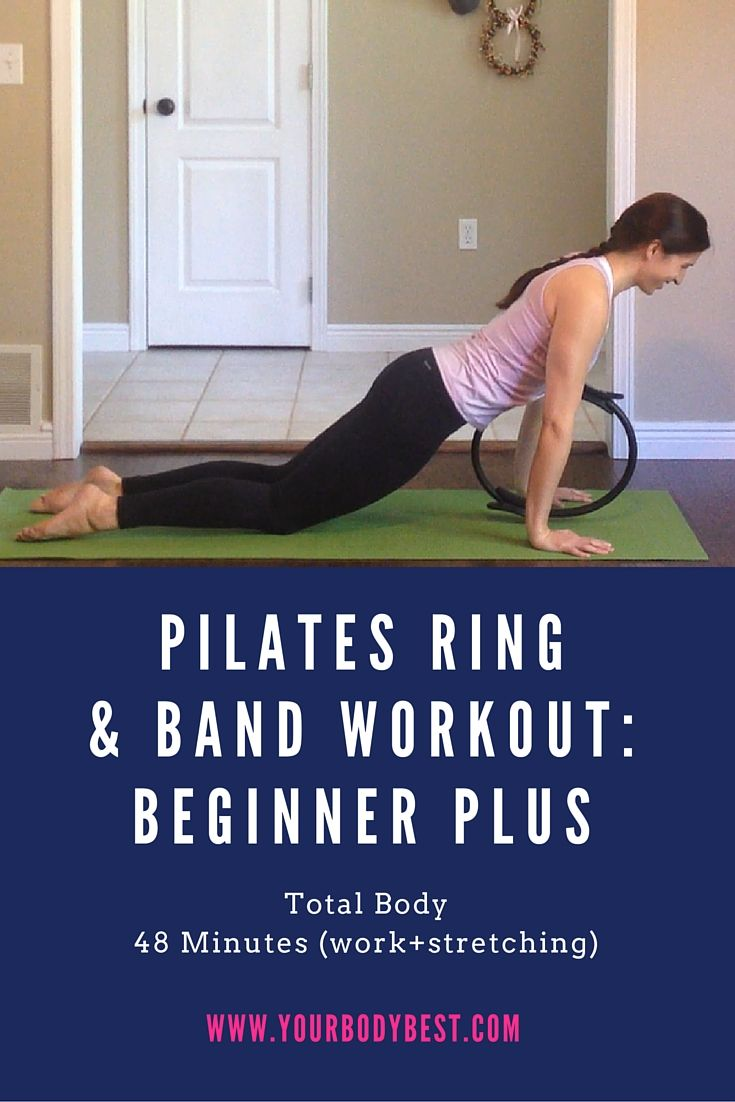This longer workout includes the 10 exercises we did in the Beginner Basic workout plus other exercises to increase the challenge. You'll need a pilates ring and a resistance band.