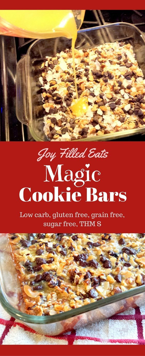 These Magic Cookie Bars taste just like the 'real' ones. No one will ever know they are sugar free grain free gluten free low carb and a THM S. viaThese Magic Cookie Bars taste just like the 'real' ones. No one will ever know they are sugar free grain free gluten free low carb and a THM S. via@Joy Filled Eats